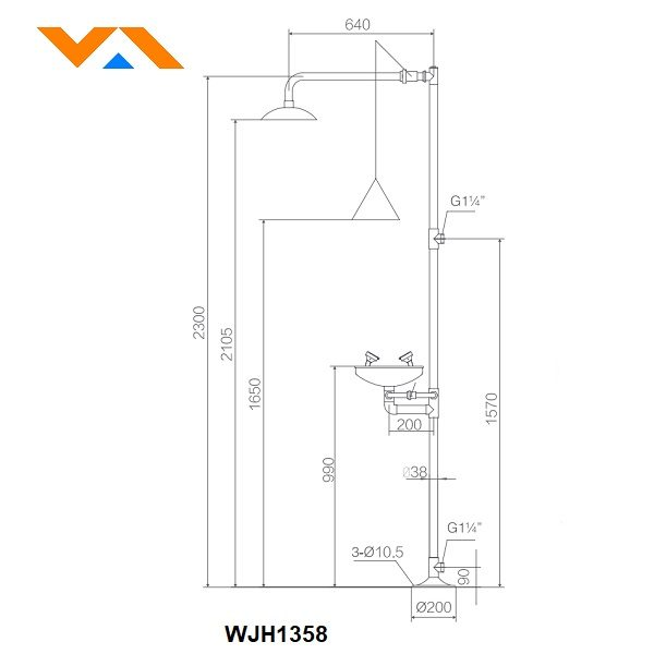 Stainless Steel Combination Emergency Shower WJH1358