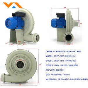Quạt hút hơi hóa chất chụp hút di động CREF-2S75